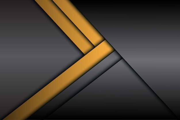 Direção de seta metálica cinza amarelo abstrata com fundo de espaço em branco
