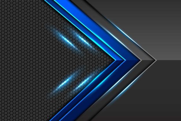 Direção de seta metálica cinza azul escuro abstrata com padrão de malha hexágono e sombra azul luz design fundo futurista de luxo moderno