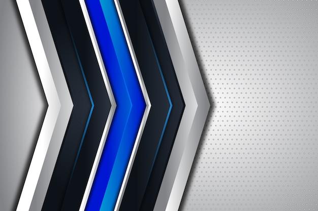 Direção de seta moderna azul e prata sobre fundo branco fundo