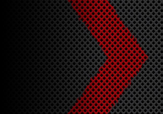 Direção de seta vermelha abstrata em fundo de malha de diamante cinza