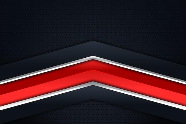 Direção de seta vermelha de prata no fundo escuro do espaço em branco
