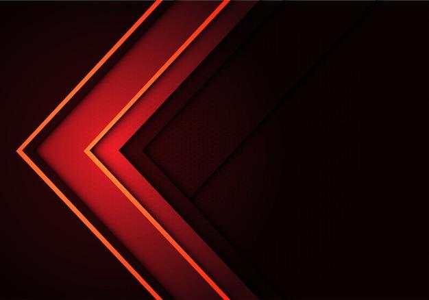 Direção de seta vermelha linha amarela no cinza com fundo de malha hexagonal