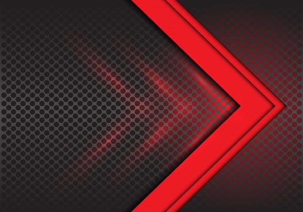 Direção de seta vermelha no fundo de malha do círculo.