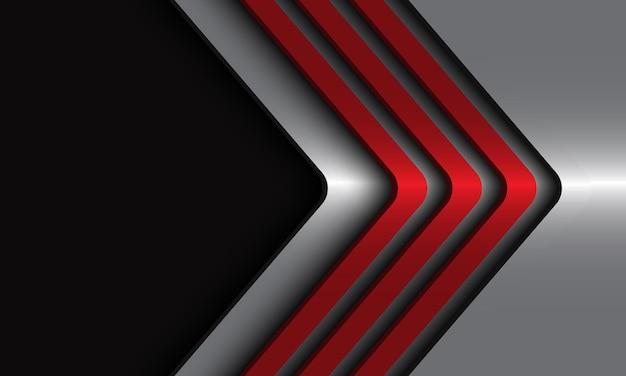 Direção de setas metálicas vermelhas abstratas em fundo futurista de luxo moderno prata.