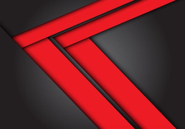 Direção de velocidade seta vermelha sobre fundo cinzento escuro.