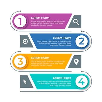 Direção direita e esquerda para etapas infográfico