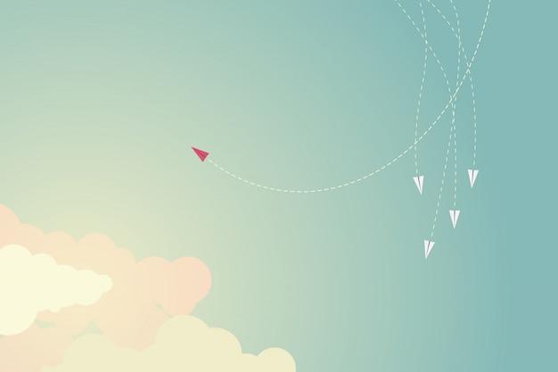 Direção em mudança do avião vermelho do estilo minimalista e uns.