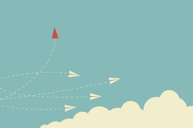 Direção em mudança do avião vermelho do stile minimalista e branco.