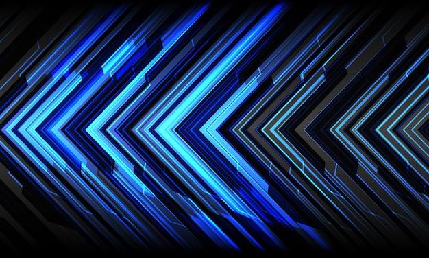 Direção futurista de tecnologia geométrica cibernética abstrata seta azul sobre fundo cinza moderno.