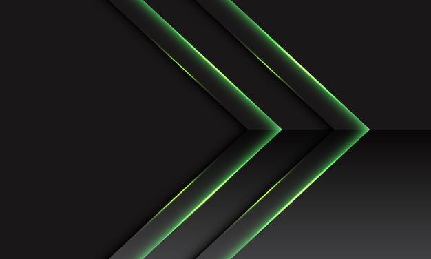 Direção metálica da seta dupla verde abstrata em cinza escuro com fundo de tecnologia futurista moderna de design de espaço em branco