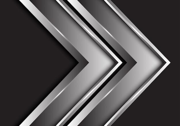 Direção metálica da seta gêmea de prata no fundo preto.