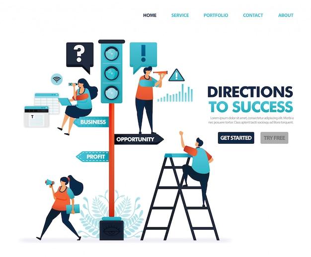 Direção para o sucesso na carreira e nos negócios, sinais de trânsito, avisos e instruções.