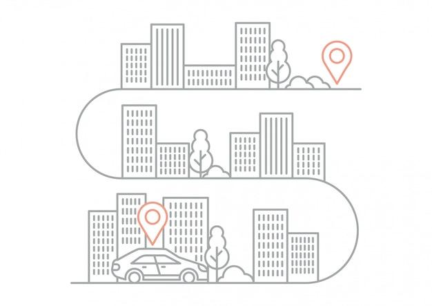 Direções de navegação de ilustração com carro