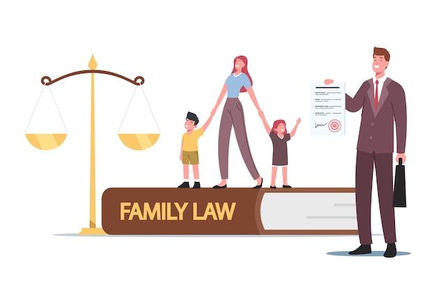 Direito da família, divórcio, guarda da criança ou conceito de pensão alimentícia. minúsculo personagem-mãe com crianças pequenas e advogado em enormes escalas no tribunal de justiça durante a audiência. ilustração em vetor desenho animado