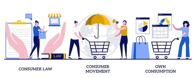Direito do consumidor, movimento do consumidor, conceito de consumo próprio com pessoas minúsculas. conjunto de ilustração vetorial abstrata de interesses, direitos e hábitos do comprador. serviço de proteção legal, metáfora do contencioso do consumidor.