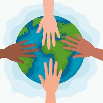 Direitos humanos com mãos e design do mundo, protesto de manifestação e tema de demonstração