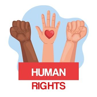 Direitos humanos com punhos e mão levantada com desenho de coração, manifestação de protesto e tema de demonstração