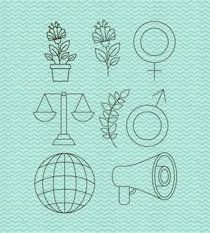 Direitos humanos e paz conjunto de ícones