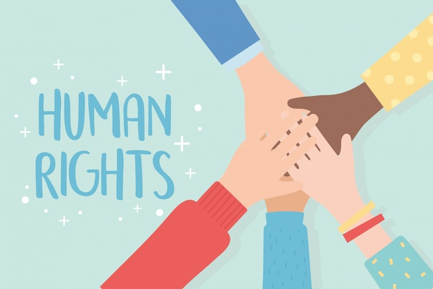 Direitos humanos, ilustração em vetor unidade mãos levantadas