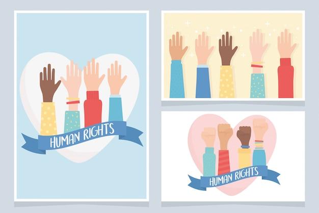 Direitos humanos, juntos a comunidade mãos cartões ilustração em vetor
