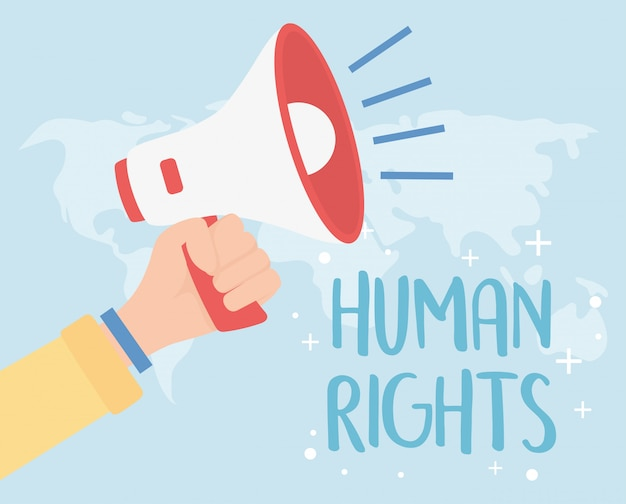 Direitos humanos, mão com ilustração em vetor mapa mundo megafone
