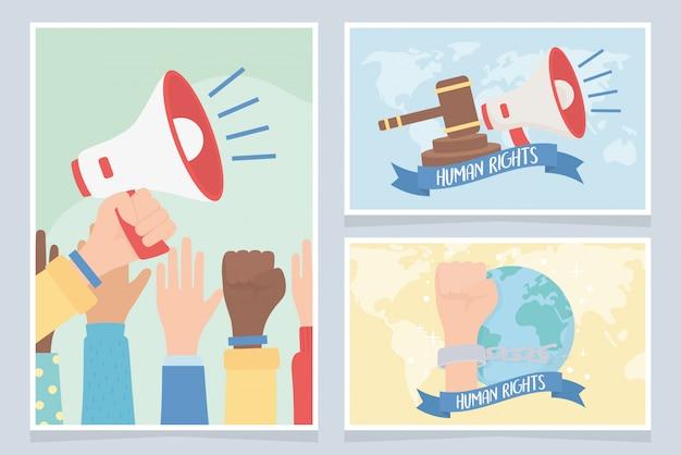 Direitos humanos, mãos levantadas megafone mundo justiça lei cartões ilustração vetorial