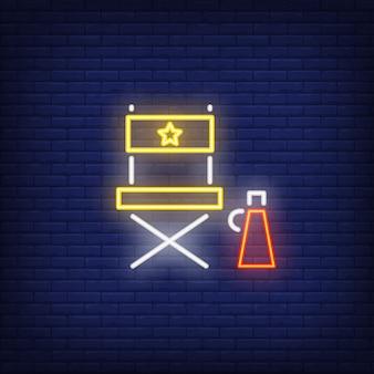 Diretor cadeira sinal de néon