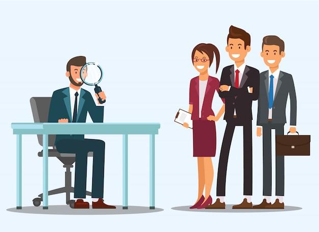 Diretor recruta pessoal. pessoas em trajes de negócios.