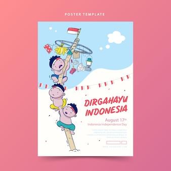 Dirgahayu ou celebração do pôster do dia da independência da indonésia com ilustração de desenho animado escalando um poste escorregadio