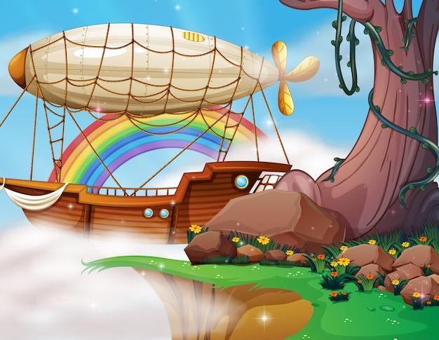 Dirigível de fantasia e cena do barco