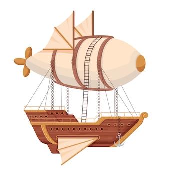Dirigível de navio voador. navio futurista com asas e balão no estilo technopunk.