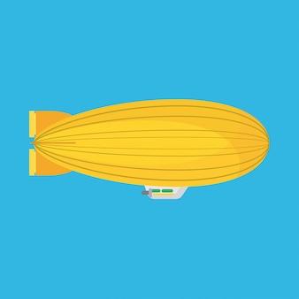 Dirigível dirigível de ícone do vetor vista lateral. balão dirigível do aeróstato da nuvem do zepelim do hélio.