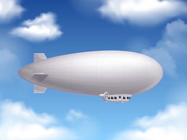 Dirigível no céu realista com símbolos de transporte aéreo