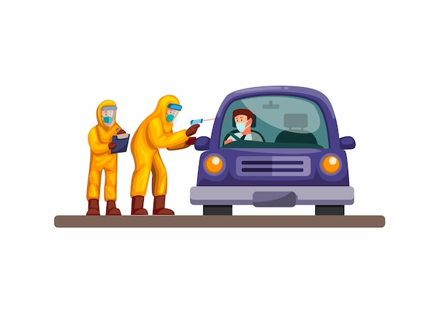 Dirija através de um teste rápido, médico e cientista usam carro de motorista com camisa de proteção contra infecções por vírus corona. conceito na ilustração dos desenhos animados sobre fundo branco
