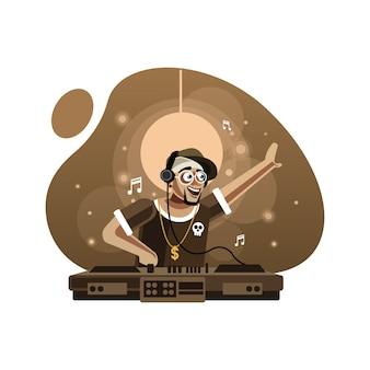 Disc-jockey em fones de ouvido tocando música na plataforma giratória