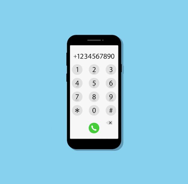 Discar um número no telefone. design plano.