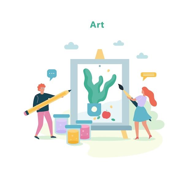 Disciplina de arte na escola. aula de desenho, ideia de educação
