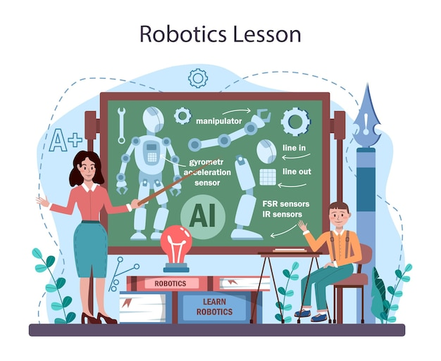 Disciplina escolar de robótica. alunos aprendendo os componentes do robô