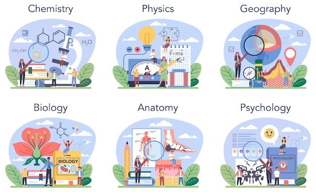 Disciplina escolar natural ou conjunto de classes educacionais. estudante de ciências naturais. biologia, química, física, geografia. sistema de educação escolar moderno. ilustração em vetor plana isolada