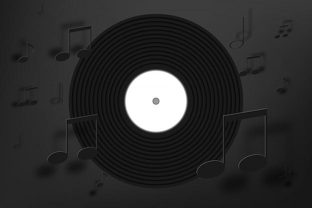 Disco de vinil com fundo de nota de música em estilo de arte de papel