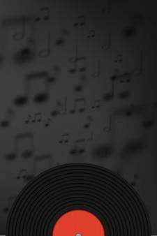 Disco de vinil com fundo de nota de música na arte de papel