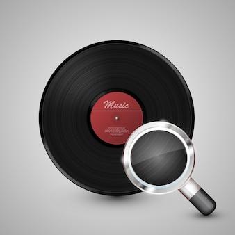 Disco de vinil com lupa. ilustração vetorial