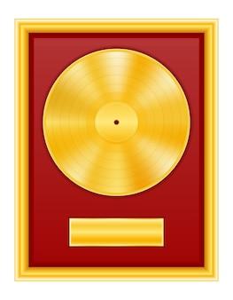 Disco de vinil dourado em ilustração de estoque de quadro isolado no fundo branco Vetor Premium