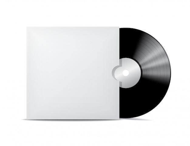 Disco de vinil em envelope de capa em branco.