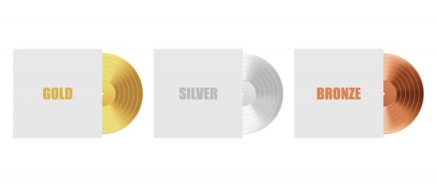 Disco de vinil em ouro, prata e bronze com capa