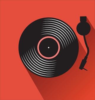 Disco de vinil preto antigo e toca-discos