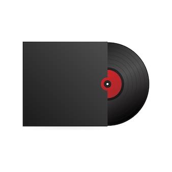 Disco de vinil realista com capa preta. festa de discoteca. design retro. .