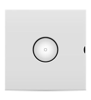 Disco de vinil retrô na ilustração de estoque de capa isolado no fundo branco Vetor Premium