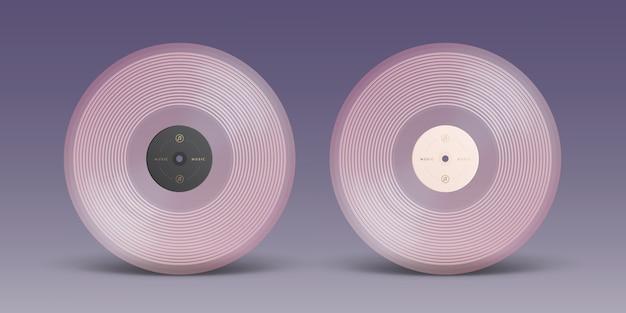 Disco de vinil rosa isolado no fundo