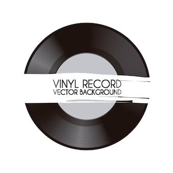 Disco de vinil sobre ilustração vetorial de fundo branco